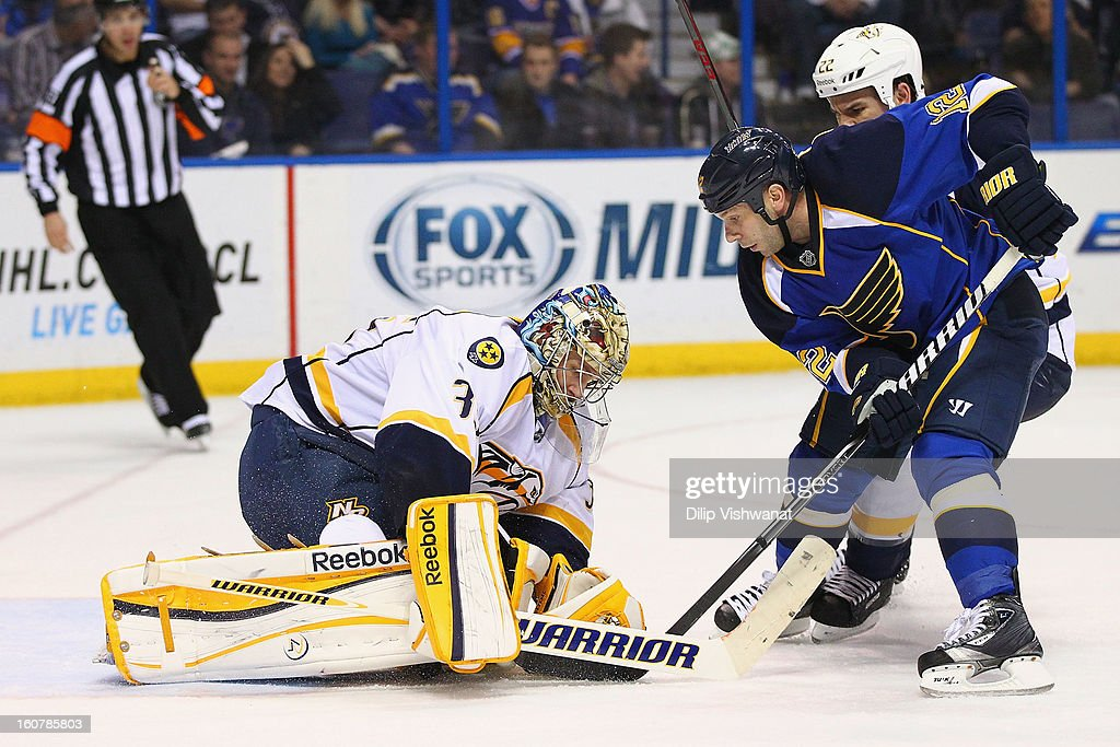 <a gi-track='captionPersonalityLinkClicked' href=/galleries/search?phrase=Pekka+Rinne&family=editorial&specificpeople=2118342 ng-click='$event.stopPropagation()'>Pekka Rinne</a> #35 of the Nashville Predators makes a save against <a gi-track='captionPersonalityLinkClicked' href=/galleries/search?phrase=Scott+Nichol&family=editorial&specificpeople=204582 ng-click='$event.stopPropagation()'>Scott Nichol</a> #12 of the St. Louis Blues at the Scottrade Center on February 5, 2013 in St. Louis, Missouri.