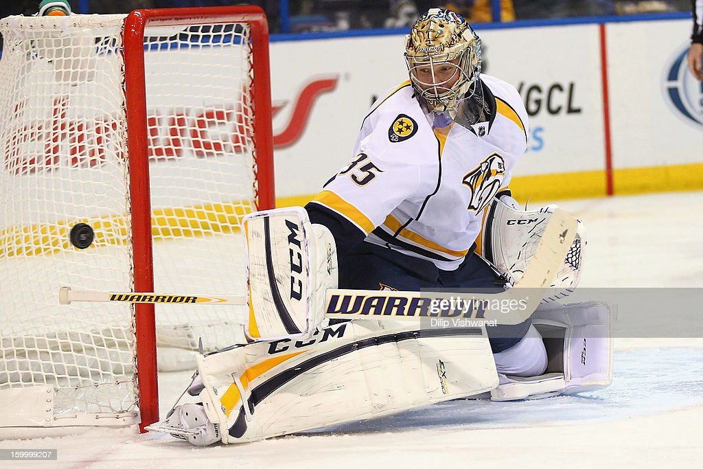 <a gi-track='captionPersonalityLinkClicked' href=/galleries/search?phrase=Pekka+Rinne&family=editorial&specificpeople=2118342 ng-click='$event.stopPropagation()'>Pekka Rinne</a> #35 of the Nashville Predators makes a save against the St. Louis Blues at the Scottrade Center on January 24, 2013 in St. Louis, Missouri.