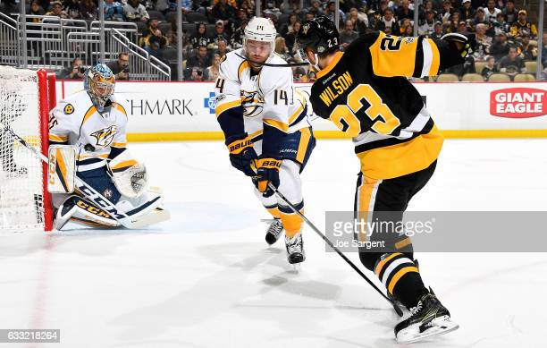 Pekka Rinne of the Nashville Predators makes a save on a shot by Scott Wilson of the Pittsburgh Penguins at PPG Paints Arena on January 31 2017 in...