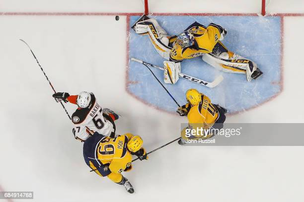 Pekka Rinne of the Nashville Predators makes a toe save against Rickard Rakell of the Anaheim Ducks in Game Four of the Western Conference Final...