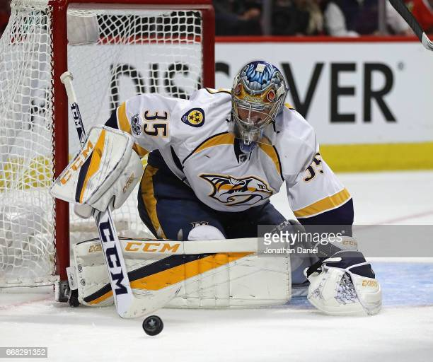Pekka Rinne of the Nashville Predators makes one of 29 saves in a shutout of the Chicago Blackhawks in Game One of the Western Conference First Round...