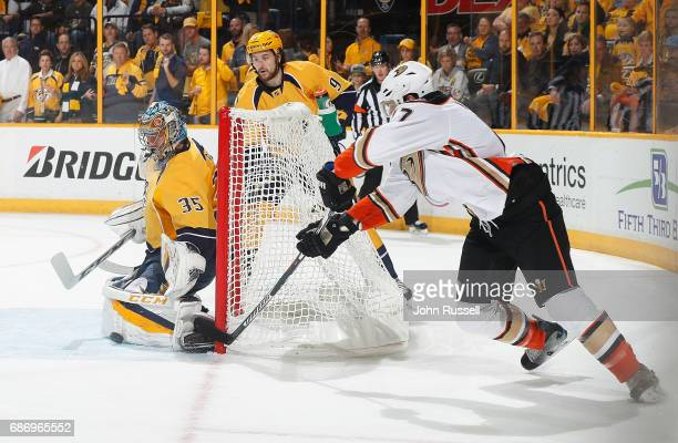 Pekka Rinne of the Nashville Predators makes the save against Ryan Kesler of the Anaheim Ducks in Game Six of the Western Conference Final during the...