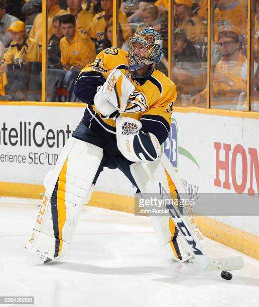 Pekka Rinne of the Nashville Predators plays the puck against the Pittsburgh Penguins during Game Six of the 2017 NHL Stanley Cup Final at...