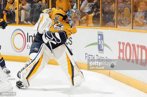 Pekka Rinne of the Nashville Predators plays the puck against the Pittsburgh Penguins during Game Four of the 2017 NHL Stanley Cup Final at...