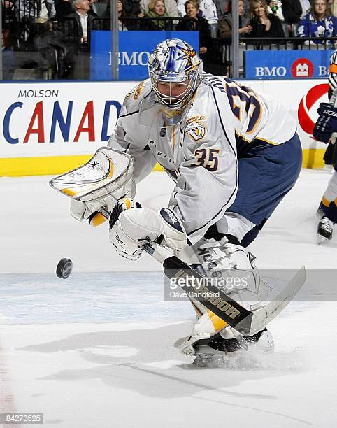 Pekka Rinne of the Nashville Predators plays the puck against the Toronto Maple Leafs during their NHL game at the Air Canada Centre January 13 2009...