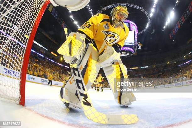 Pekka Rinne of the Nashville Predators prepares to tend goal against the Pittsburgh Penguins at Bridgestone Arena on June 05 2017 in Nashville...