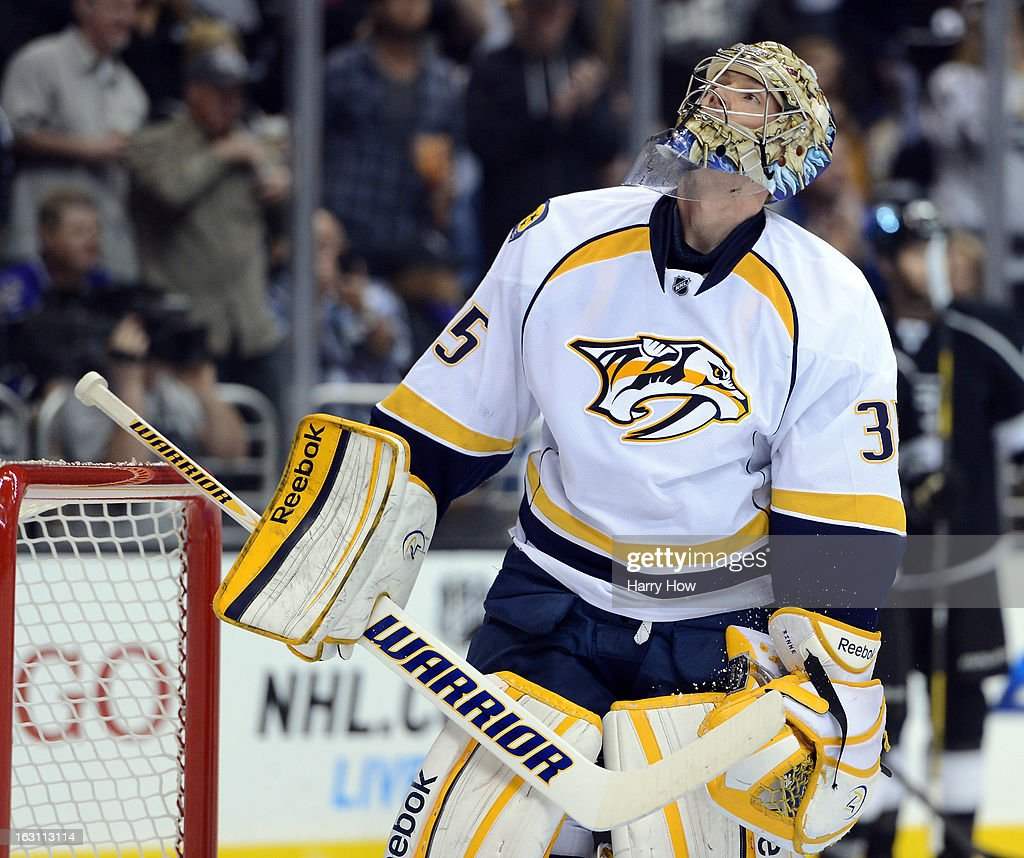Pekka Rinne #35 of the Nashville Predators reacts after the gola of Jeff Carter #77 of the Los Angeles Kings for a 1-0 Kings lead during the second period at Staples Center on March 4, 2013 in Los Angeles, California.
