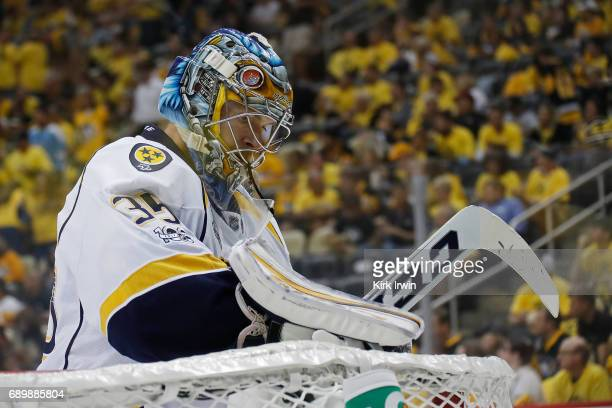 Pekka Rinne of the Nashville Predators reacts against the Pittsburgh Penguins in Game One of the 2017 NHL Stanley Cup Final at PPG Paints Arena on...