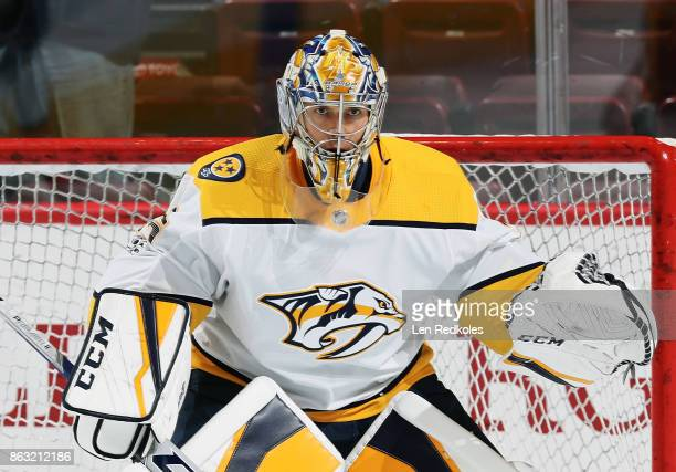 Pekka Rinne of the Nashville Predators readies himself for warmups prior to his game against the Philadelphia Flyers on October 19 2017 at the Wells...