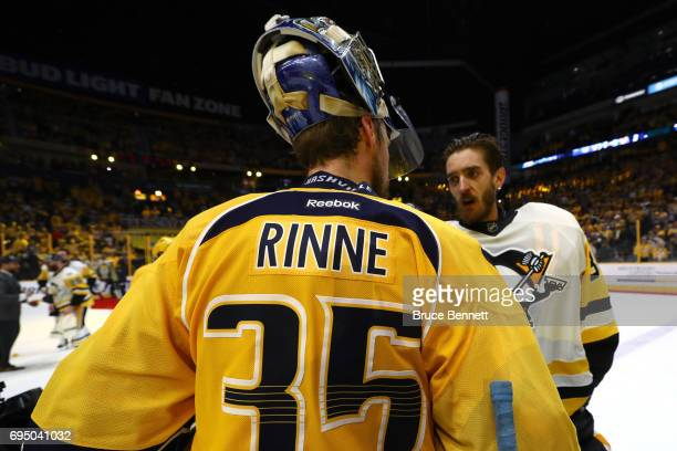 Pekka Rinne of the Nashville Predators shakes hands with Matt Murray of the Pittsburgh Penguins after falling 20 in Game Six of the 2017 NHL Stanley...