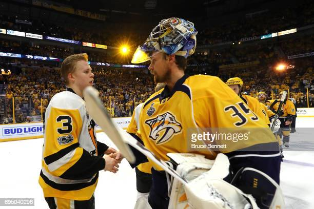 Pekka Rinne of the Nashville Predators shakes hands with Olli Maatta of the Pittsburgh Penguins after falling 20 in Game Six of the 2017 NHL Stanley...