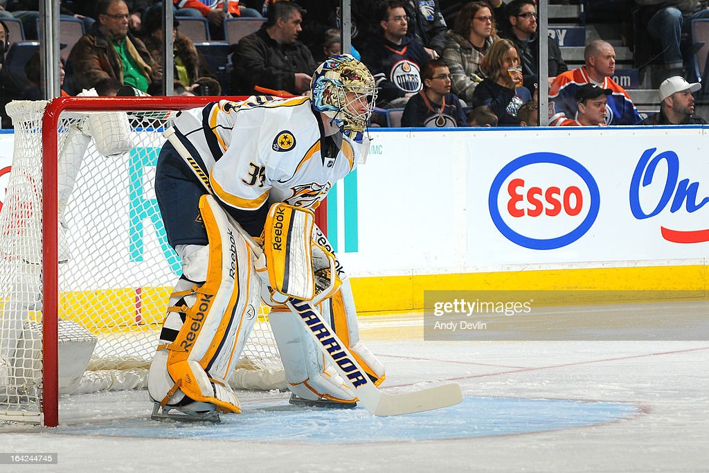 Pekka Rinne #35 of the Nashville Predators takes his position in net in a game against the Edmonton Oilers on March 17, 2013 at Rexall Place in Edmonton, Alberta, Canada.