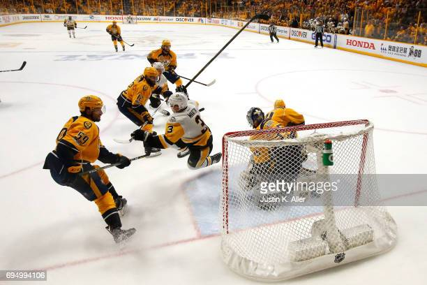Pekka Rinne of the Nashville Predators tends goal against Olli Maatta of the Pittsburgh Penguins during the second period in Game Six of the 2017 NHL...