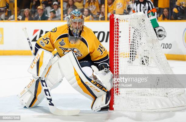 Pekka Rinne of the Nashville Predators tends net against against the Pittsburgh Penguins during Game Four of the 2017 NHL Stanley Cup Final at...