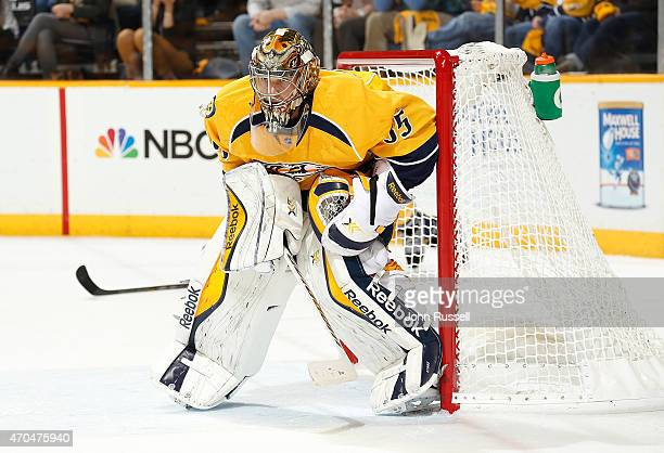 Pekka Rinne of the Nashville Predators tends net against the Chicago Blackhawks in Game Two of the Western Conference Quarterfinals during the 2015...