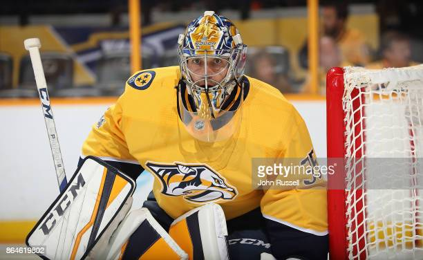 Pekka Rinne of the Nashville Predators tends net against the Colorado Avalanche during an NHL game at Bridgestone Arena on October 17 2017 in...