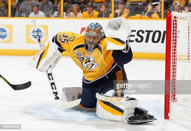 Pekka Rinne of the Nashville Predators tends net against the Pittsburgh Penguins during Game Three of the 2017 NHL Stanley Cup Final at Bridgestone...