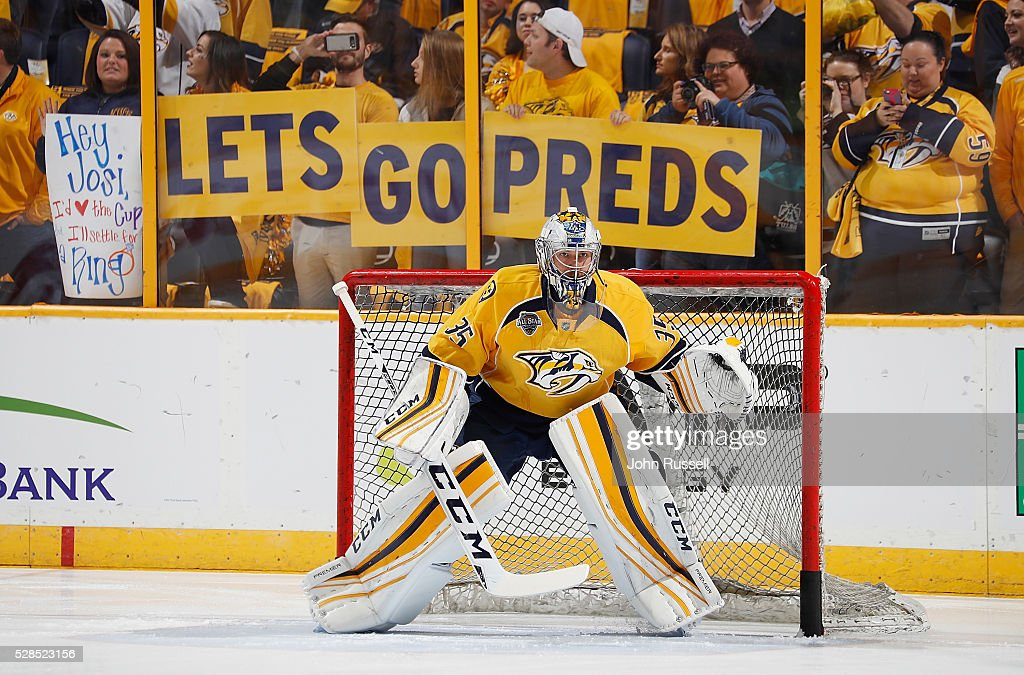 <a gi-track='captionPersonalityLinkClicked' href=/galleries/search?phrase=Pekka+Rinne&family=editorial&specificpeople=2118342 ng-click='$event.stopPropagation()'>Pekka Rinne</a> #35 of the Nashville Predators warms up in net prior to Game Four of the Western Conference Second Round against the San Jose Sharks during the 2016 NHL Stanley Cup Playoffs at Bridgestone Arena on May 5, 2016 in Nashville, Tennessee.