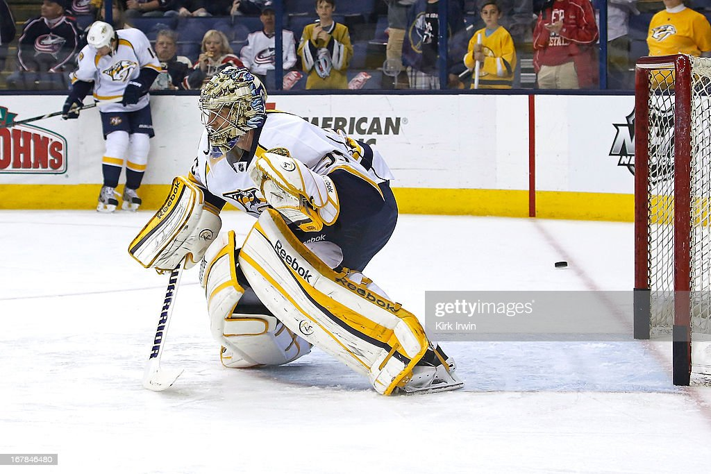 Pekka Rinne #35 of the Nashville Predators warms up prior to the start of the game against the Columbus Blue Jackets on April 27, 2013 at Nationwide Arena in Columbus, Ohio.