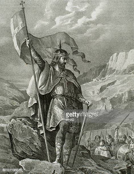 Pelagius Visigothic nobleman who founded the Kingdom of Asturias Engraving in Spain Illustrated History 19th century