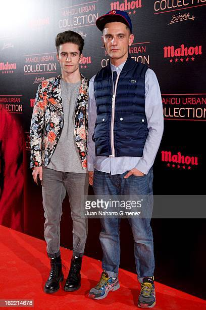 Pelayo Diaz and David Delfin attend Mahou Urban Collection during Mercedes Benz Fashion Week Madrid Fall/Winter 2013/14 at Matadero on February 20...