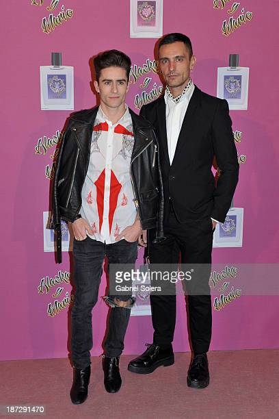 Pelayo Diaz and David Delfin attend the presentation of the new fragrance from Alaska and Mario Vaquerizo in Madrid on November 7 2013 in Madrid Spain