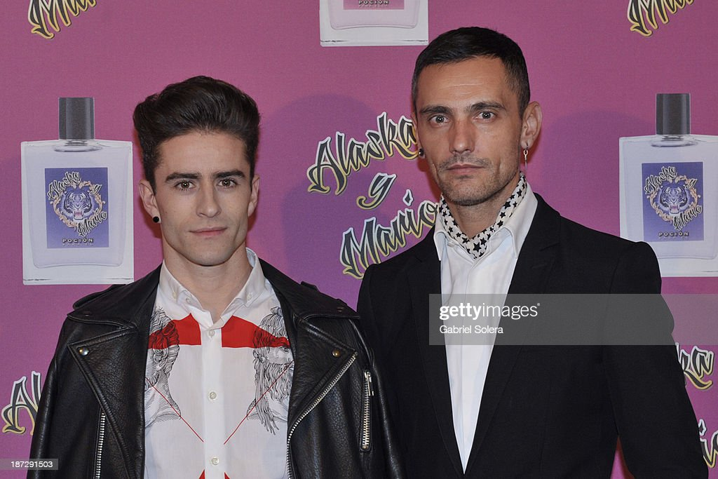 Pelayo Diaz and David Delfin attend the presentation of the new fragrance from Alaska and Mario Vaquerizo in Madrid on November 7, 2013 in Madrid, Spain.