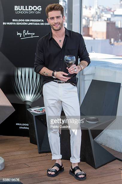 Pelayo Diaz presents Bulldog glasses designed by him at ME Hotel Terrace on June 7 2016 in Madrid Spain