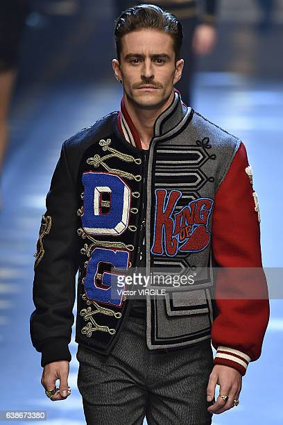 Pelayo Diaz walks the runway at the Dolce Gabbana show during Milan Men's Fashion Week Fall/Winter 2017/18 on January 14 2017 in Milan Italy