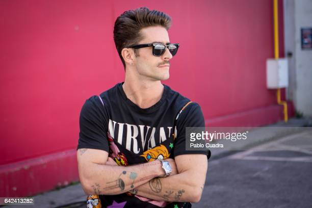 Pelayo Diaz wears Vans trainers blue jeans and RayBan sunglasses at Ifema during Mercedes Benz Fashion Week Madrid Autumn / Winter 2017 on February...