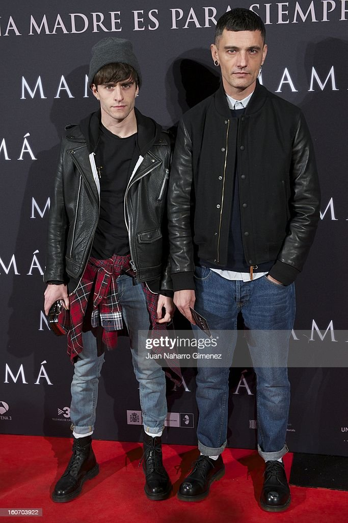 Pelayo Diaz Zapico (L) and David Delfin (R) attend the 'Mama' premiere at the Callao cinema on February 4, 2013 in Madrid, Spain.