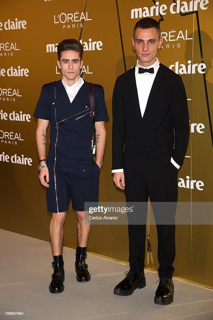 Pelayo Diaz Zapico (L) and Spanish designer David Delfin attend Marie Claire Prix de la Moda Awards 2012 at the French Embassy on November 22, 2012 in Madrid, Spain.