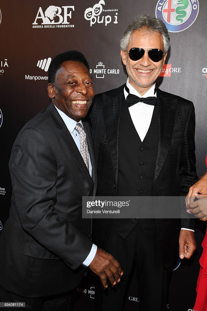 Pele and Andrea Bocelli walk the red carpet of Bocelli and Zanetti Night on May 25, 2016 in Rho, Italy.