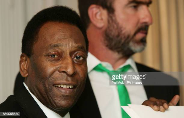 Pele and Eric Cantona during the announcement of the Official New York Cosmos Opus book which weighs 37 kilos and contains 852 pages at the...