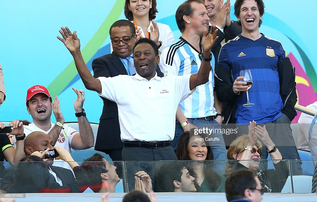 Pele and his girlfriend Marcia Cibele Aoki attend the 2014 FIFA World Cup Brazil Final match between Germany and Argentina at Estadio Maracana on July 13, 2014 in Rio de Janeiro, Brazil.