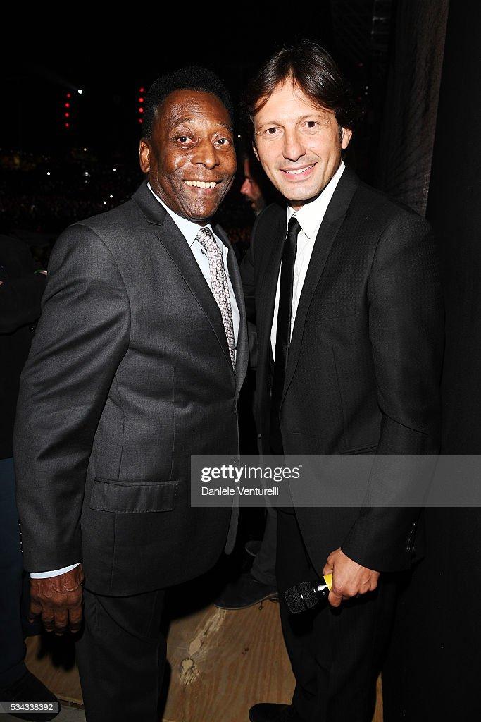 Pele and Leonardo Nascimento de Araújo are seen backstage ahead of Bocelli and Zanetti Night on May 25, 2016 in Rho, Italy.