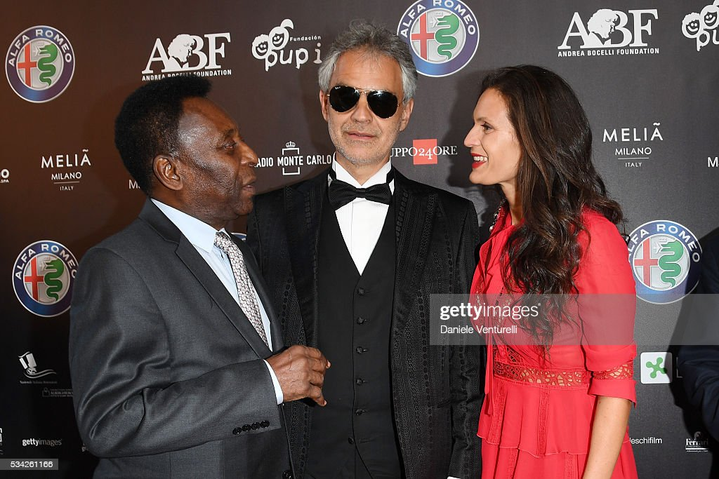Pele, Andrea Bocelli and Veronica Berti walk the red carpet of Bocelli and Zanetti Night on May 25, 2016 in Rho, Italy.