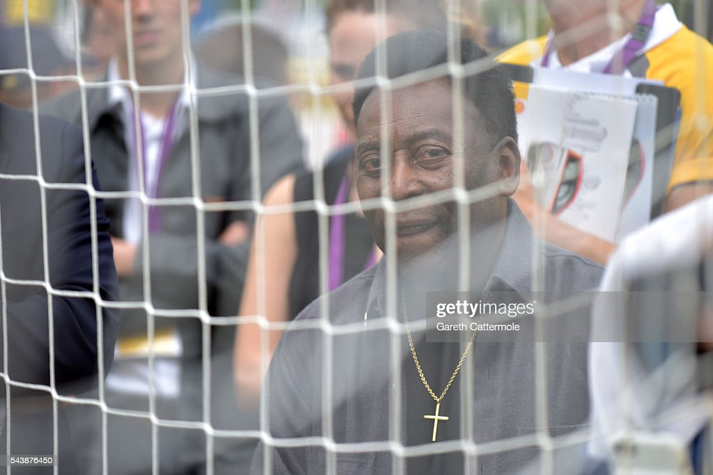 Pele attends the Energy Challenge photocall at Queen Elizabeth Olympic Park on June 30, 2016 in London, England. Pele has teamed up with Shell to launch the world's first human powered football pitch.
