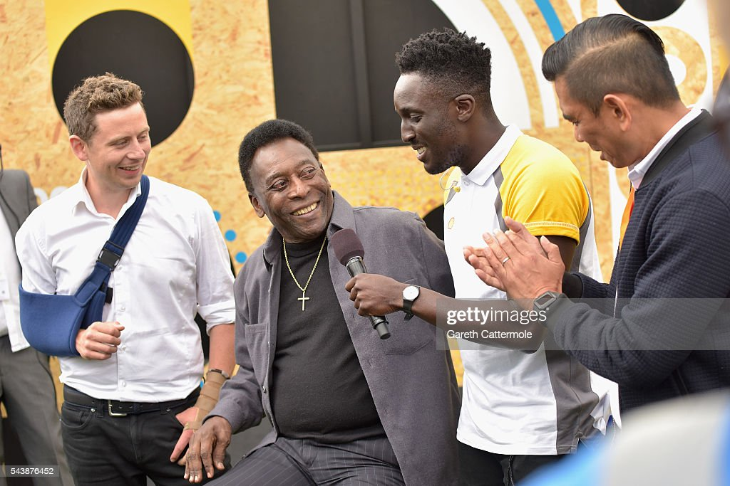 Pele (C) attends the Energy Challenge photocall at Queen Elizabeth Olympic Park on June 30, 2016 in London, England. Pele has teamed up with Shell to launch the world's first human powered football pitch.