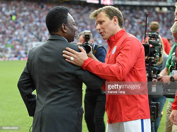 Pele meets Ben Shephard during Soccer Aid 2016 at Old Trafford on June 5 2016 in Manchester United Kingdom