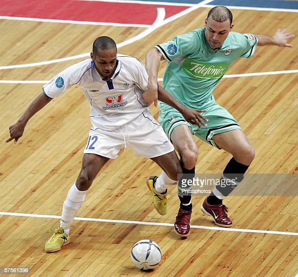 Pele of Dinamo Moscow competes against Schumacher of Boomerang Interviu FS during UEFA Futsal Cup final on May 7 2006 in Moscow Russia