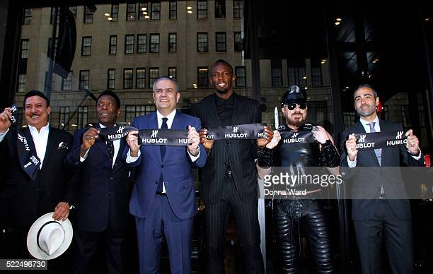 Pele Ricardo Guadalupe Usain Bolt and Peter Marino attend the Hublot Fifth Avenue Flagship Boutique Opening at Hublot Boutique on April 19 2016 in...