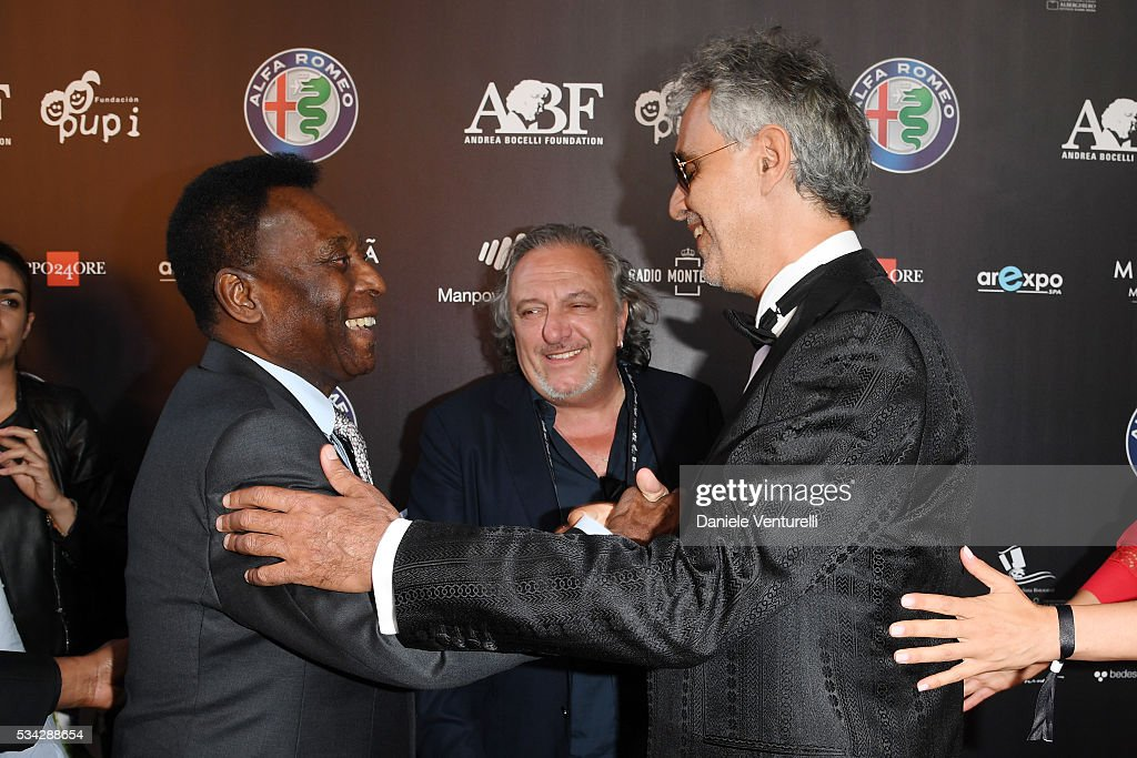 Pele, Roberto Cenci and <a gi-track='captionPersonalityLinkClicked' href=/galleries/search?phrase=Andrea+Bocelli&family=editorial&specificpeople=211558 ng-click='$event.stopPropagation()'>Andrea Bocelli</a> walk the red carpet of Bocelli and Zanetti Night on May 25, 2016 in Rho, Italy.