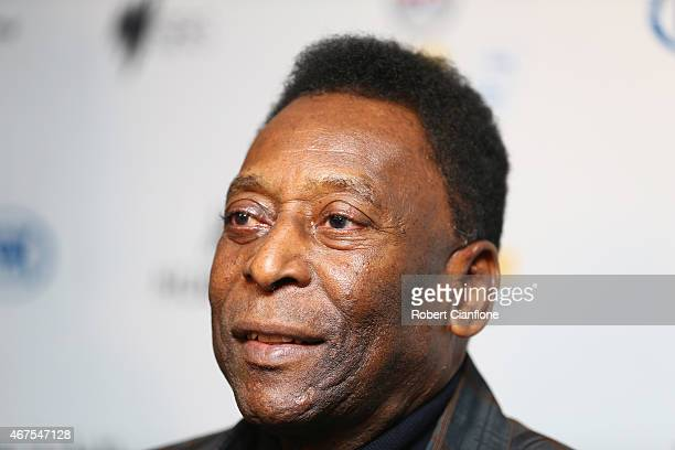 Pele speaks to the media during a press conference at The Peninsula on March 26 2015 in Melbourne Australia