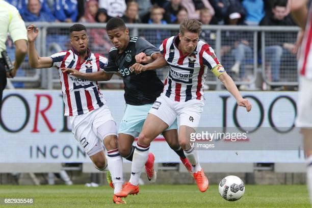 Pele van Anholt of Willem II David Neres of Ajax Jordens Peters of Willem IIduring the Dutch Eredivisie match between Willem II Tilburg and Ajax...
