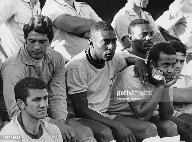 Pele with his Brazilian team mates who are playing Bulgaria in an international friendly at the Morumbi Stadium in Sao Paulo 26th April 1970