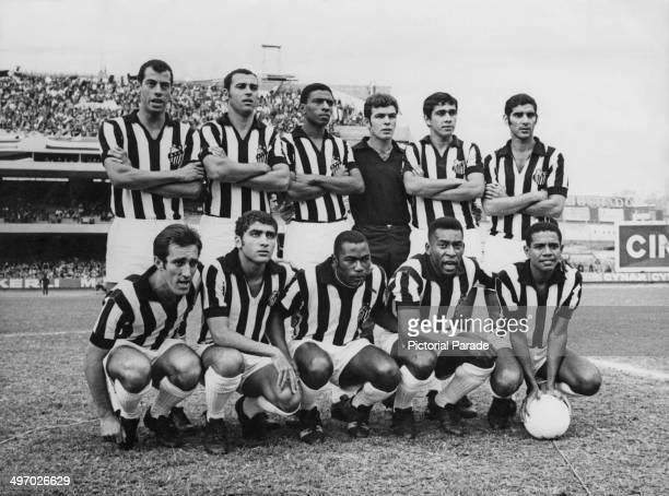 Pele with his Santos FC team mates 23rd June 1969