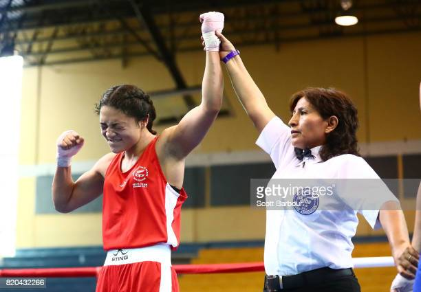 Pelea Fruean of New Zealand celebrates after beating Sadie Thomas of England in the Girl's 60 kg Quarterfinal 2 Boxing on day 4 of the 2017 Youth...