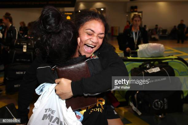 Pelea Fruean of the New Zealand Youth Commonwealth Games team greets family as she arrives back from the Bahamas Youth Commonwealth Games at the...
