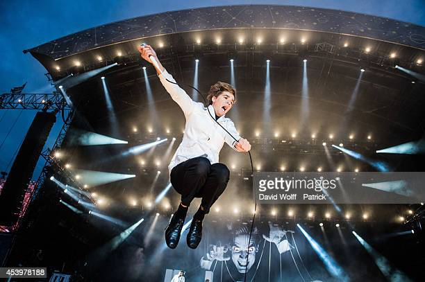 Pelle Almqvist from The Hives performs at Rock en Seine Festival at Domaine national de Saint Cloud on August 22 2014 in SaintCloud France